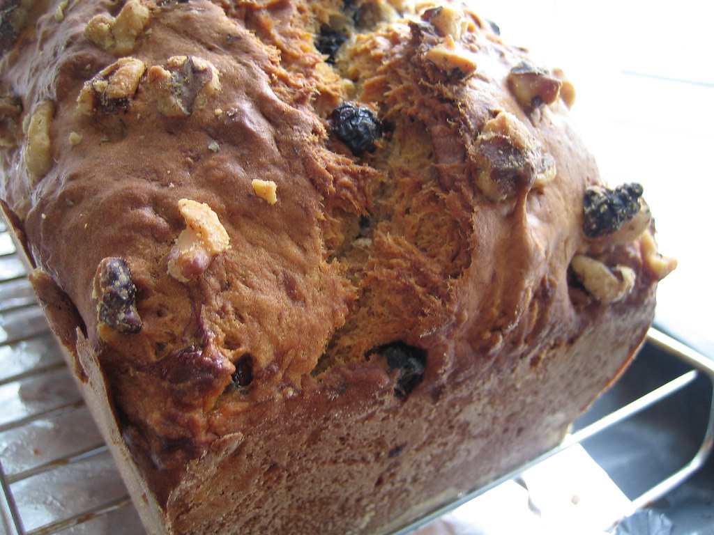 Lower-fat Banana Bread with Wild Blueberries and Walnuts