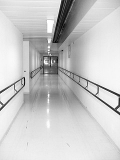 Hospital corridor, in gray