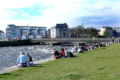 Spanish arch, Galway City. (RuthannOC) Tags: county old city bridge family blue ireland sky people irish white black west building mill galway church water sunshine stone swimming buildings river way relax flow outdoors lumix canal duck ancient scenery stream corrib arch cathedral lock path walk dam ripple mary jesus families ruin bridges couples wave bank sunny eire romance quay panasonic spanish enjoy eglinton western strong locks ripples paths flowing archway relaxation mills current sunbathing dams ruthann woodquay dmcfz50