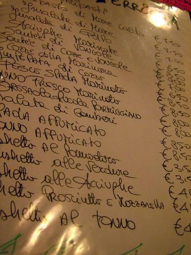 Handwritten Italian menu - a good sign