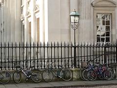 Railings, Lamp and Bikes (Lazy B) Tags: cambridge tag3 taggedout march university tag2 tag1 bikes bicycles lampost senatehouse fz5 railings 2007
