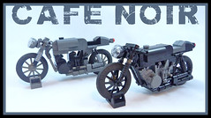Cafe Noir (Lino M) Tags: cars noir black gray dark cafe racers racer vintage motorcycle bikes motorcycles pair twins lugnuts lego lino martins british racing white speed motor
