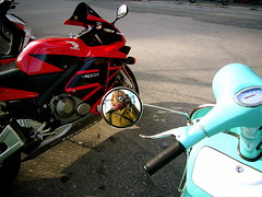 Self-Portrait (Musical Mint) Tags: city urban selfportrait toronto mirror vespa cement motorcycles musicalmint