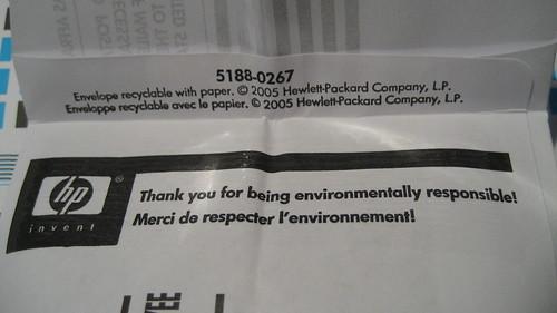 HP inkjet printer cartridge return envelope