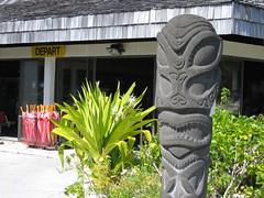 Tiki God outside of Bora Bora Airport