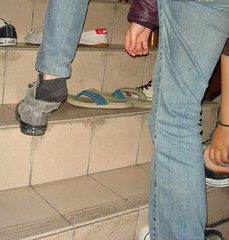 Sarah putting on her shoes
