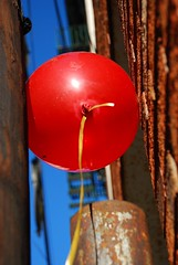stuck. (Diana Pappas) Tags: red sky brick newjersey rust balloon nj hoboken hudsoncounty d80
