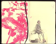...no suitcase (the3robbers) Tags: moleskine girl found screenprint magenta sketchbook transfer solvent the3robbers