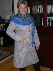 finished coat with scarf