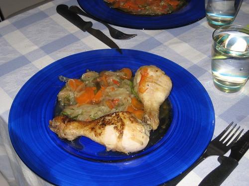 Pollo con verduradas
