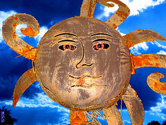 The Sungod (rcvernors) Tags: sky broken strange metal clouds altered geotagged photoshopped digitalart rusty odd computerart modified thumbsup sungod birdnest aw allrightsreserved photoshopart rcvernors