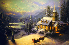 Thomas Kinkade Painting (Keith Lovelady's Photography) Tags: trees light horse tree beautiful clouds contrast wow dark painting shadows paintings sled thomaskinkade welldone kinkade greatcapture beautifulshot beautifulwork greatset abigfave ilovethesepaintings horsesled