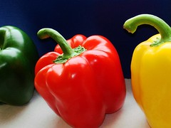 Pepper jive (Claudia1967) Tags: blue red food green home vegetables yellow colorful bright vibrant vivid fv5 sharp loveit peppers jive 1000 havingfun pimentos imaginarium inthekitchen i50 interestingness50 i500 i100 peppery 5for2 explore20070119 claudia1967