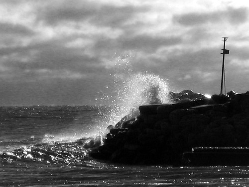 Wave crash B&W