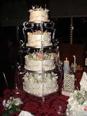 Wedding cake for my son! (ineedathis) Tags: flowers cake baking weddingcake decorating goldleaf gumpasteflowers gumpaste weddingcakes royalicing p1f1