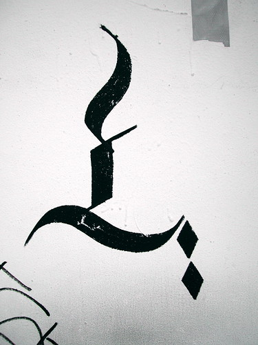 graffiti - calligraphy outline of a candle