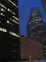 Foggy Night In Houston (FL370) Tags: buildings continental corporateamerica enron