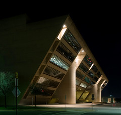 Dallas City Hall (Justin Terveen) Tags: city longexposure urban architecture modern night buildings dallas texas cityhall panoramic dart ninjatune impei swivel tuf urbanfabric dallascityhall justinterveen wwwtheurbanfabriccom theurbanfabric urbanfabricphotography