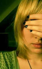 . (Graceroni N' Cheese) Tags: selfportrait black green me blind nails hide confused unsure devotchka howitends