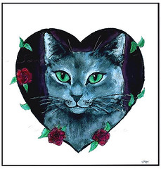 """Share Your Love For Cats"" painting by Jane Diamond (Jane (on break)) Tags: flowers roses cats chicago cat feline heart jane  kitty magnets diamond cutecat 07 valentinesday greycat cutekitty catart kittylove felineart catpainting arcylic catmagnets petpaintings arcylicpainting househarmony harmonyhousecatshelter valentinesdayopenhouse paintingjanediamond"