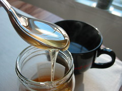 honey and tea (gamany) Tags: canon shiny tea honey soothing 8056 offwhiteplacemat