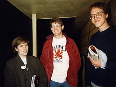 Me, Dave, and Kurt, on the front porch of the same house, February 1988