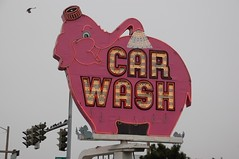 Elephant Car Wash (wunnspeed) Tags: seattle pink elephant sign