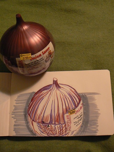 drawing of a plastic onion