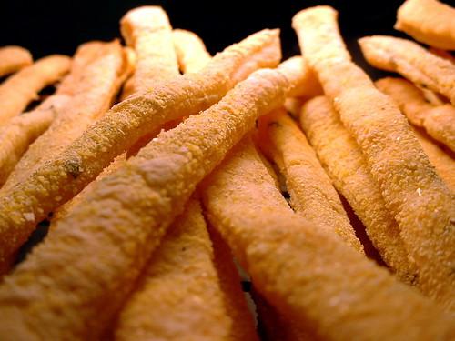 Homemade crunchy breadsticks