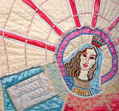 Madonna (poppalina) Tags: art vintage quilt lace embroidery madonna mary mother silk holy virgin textile quilted applique embellish mym shula ourlady poppalina