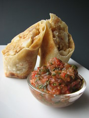 "Potato and Cauliflower ""Samosas"" with Tamarind Mint Chutney"
