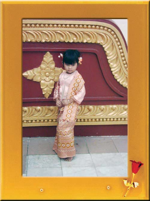 Little girl in Myanmar Traditional Dress