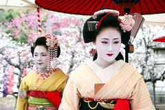 Naozome and Ichiteru (mboogiedown) Tags: travel beauty smile japan asian japanese kyoto asia traditional culture plum maiko geiko geisha kimono obi tradition ume kansai hanami baikasai kanzashi kamishichiken wagasa ilovekyoto hanakanzashi oshiroi discoverkyoto naozome maikoofkamishichiken ichiteru