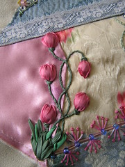 Tulips (Lin Moon) Tags: embroidery cq crazyquilt encrusted crazyquilting stumpwork sre silkribbonembroidery silkribbon