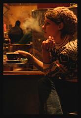 a clean, well-lighted place (googoopanda) Tags: sanfrancisco california coffee girl hat sweater cafe heather cigarette smoke hipster smoking northbeach beat hippie vallejo jackkerouac caffe allenginsberg caffetrieste clove ernesthemingway beatpoet