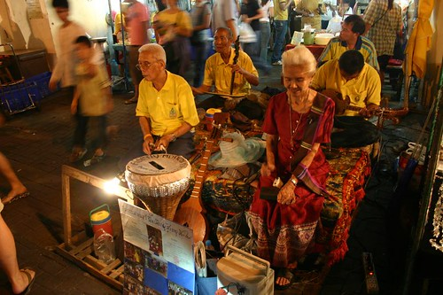 Elderly musicians. The Sunday night market in Chiang Mai