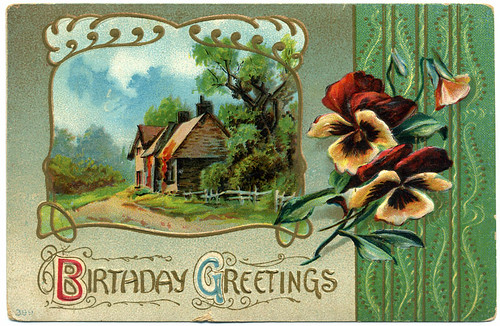 Postcard: Birthday Pansies - Embossed