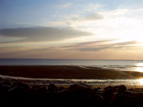 Sun over the sea at Carnoustie