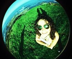 Aida (DavidGorgojo) Tags: verde green sunglasses 35mm lomo xpro procesocruzado kodak fisheye crossprocessing pelicula elitechrome aida rayban 100club diapositiva diapo ojodepez gafasdesol 50club