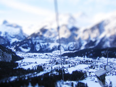 Kandersteg, CH (Littlepixel) Tags: mountains alps photoshop switzerland miniature fake mini kandersteg ch fts chairlift tiltshift toytown lensblur snowtiltshift railwaylayout