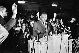 Rev. Dr. Martin Luther King, Jr. delivering his last speech in Memphis on April 3, 1968. Detroit honors his legacy every year on the federal holiday with a rally and march through downtown. by Pan-African News Wire File Photos