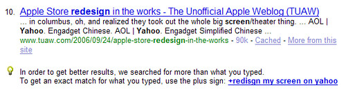 Yahoo! Search spell correction
