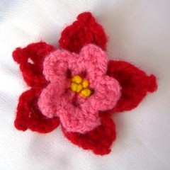 PinkRed Crochet Flower