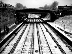 Black and white ([fakey]) Tags: morning blackandwhite snow london station train january lewisham deptford brockley fakey
