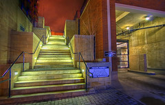 Nocturnal Stairway and Garage (DARREN ST0NE) Tags: canada color green 20d canon macintosh eos interesting mac experimental bc britishcolumbia garage bricks extreme victoria stairway explore photoshopcs hdr papercut orton photomechanic explored darrenstone hdrmeetsorton lightgazer