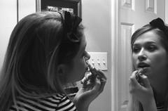 theTwo ... lipsED (constantX) Tags: bw slr 35mm canon makeup bodylanguage lips portfolio conceptual headband t2 classy multitasking wina interestingness225 thetwo i500