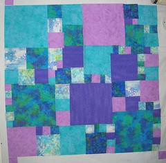 Queen bed quilt top left - design wall