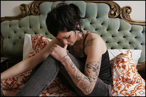 European Girl With Hands Tattoos