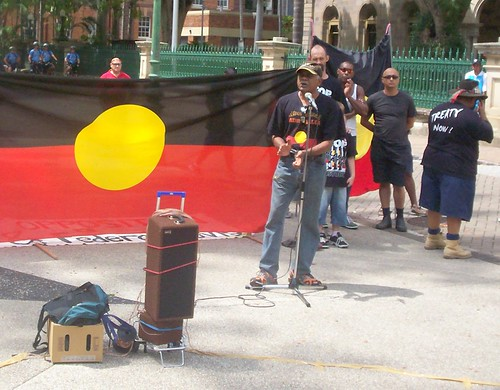 Lionel Fogarty sings - Invasion Day Rally and March, Parliament House, George St, Brisbane, Queensland, Australia 070126