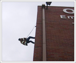 Climbing the side of the building at Envison U